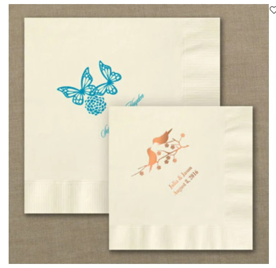 Wedding napkins personalized cheap vintage wedding for Printed wedding napkins